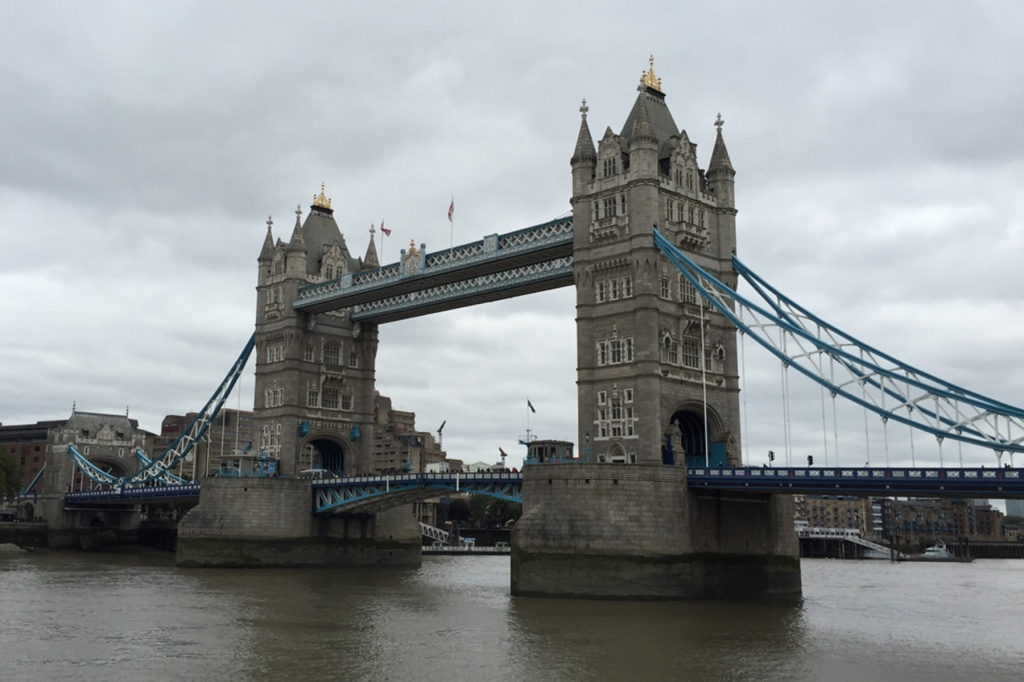 Tower Bridge in London on a gloomy day
