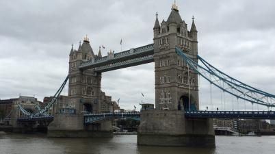 Tower Bridge in London on a gloomy day