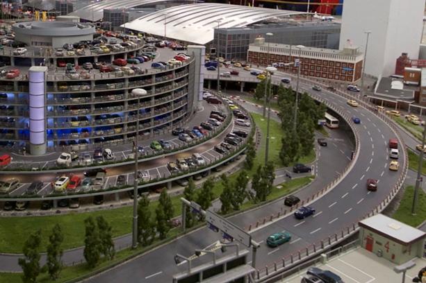 model road way and airport car park at miniatur wunderland in hamburg