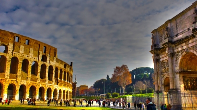 Rome in the plaza surrounding the Colosseum